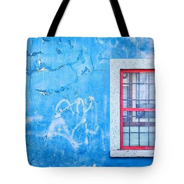 Blue Wall And Window With Red Frame Tote Bag by Silvia Ganora