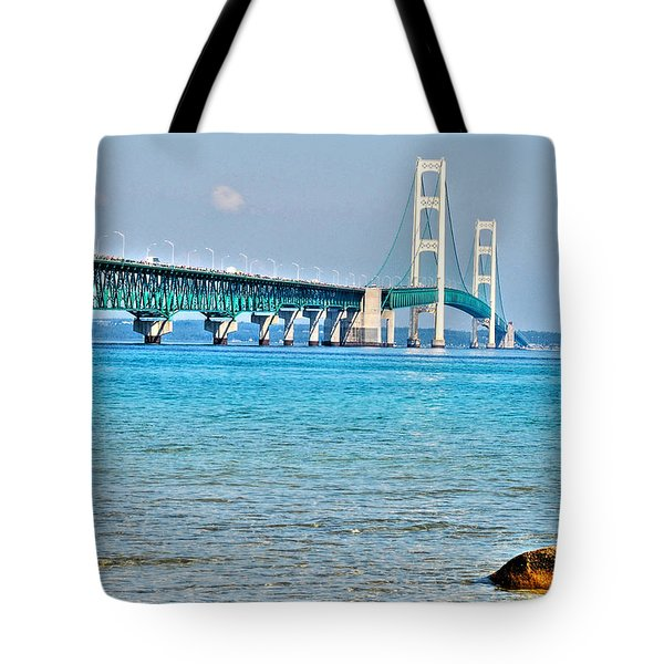 Blue Water In The Straits Of Mackinac Tote Bag by Janice Adomeit