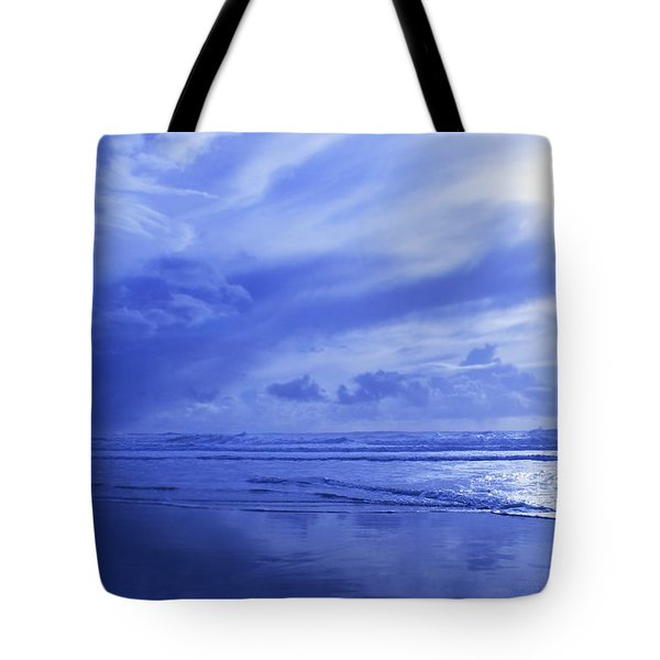 Blue Waterscape Tote Bag by Christine Mariner