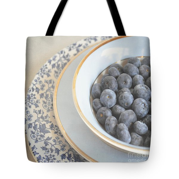 Blueberries In Blue And White China Bowl Tote Bag by Lyn Randle