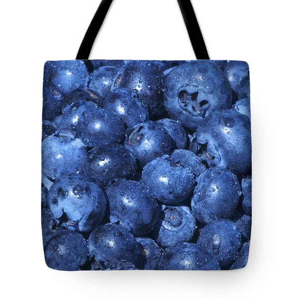 Blueberries With Waterdrops Tote Bag by Sharon Talson