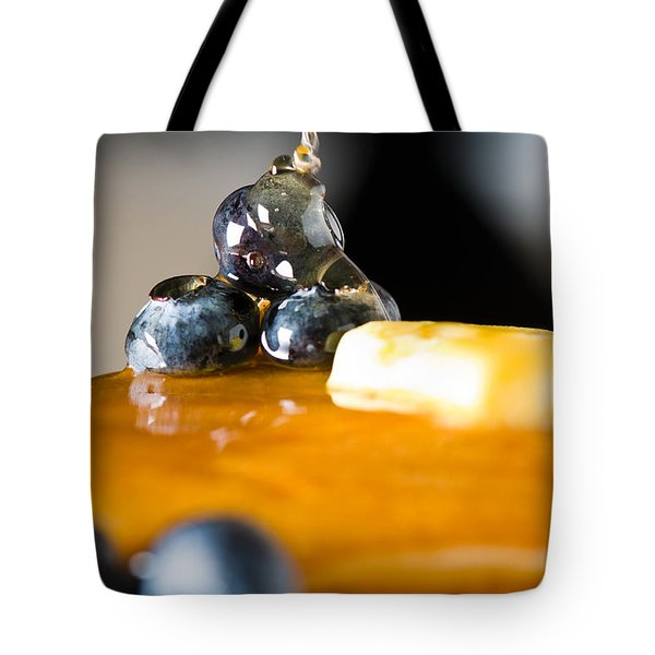 Blueberry Butter Pancake With Honey Maple Sirup Flowing Down Tote Bag by Ulrich Schade