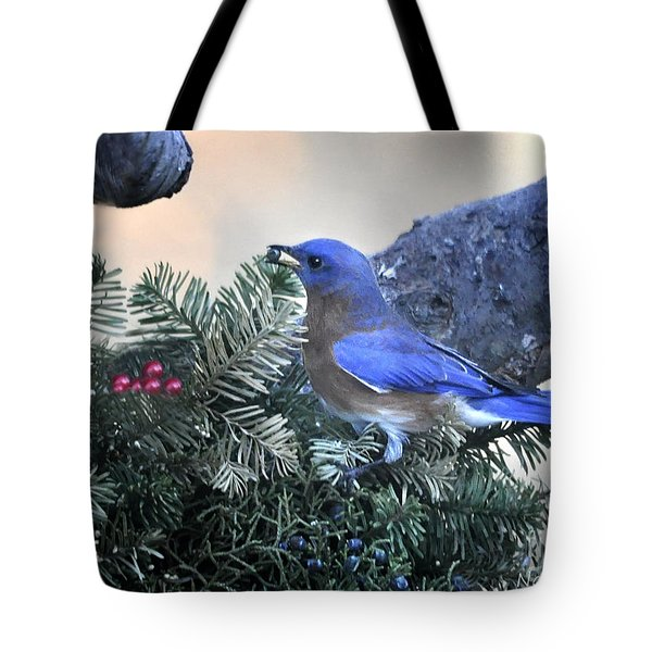Tote Bag featuring the photograph Bluebird Christmas Wreath by Nava Thompson