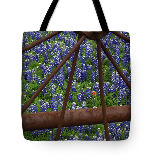 Bluebonnets And Rusted Iron Wheel Tote Bag