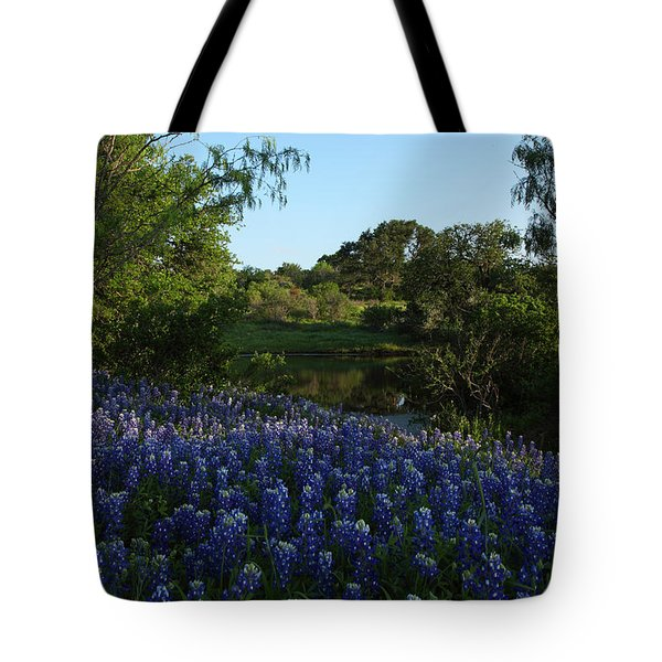 Tote Bag featuring the photograph Bluebonnets At The Pond by Susan Rovira