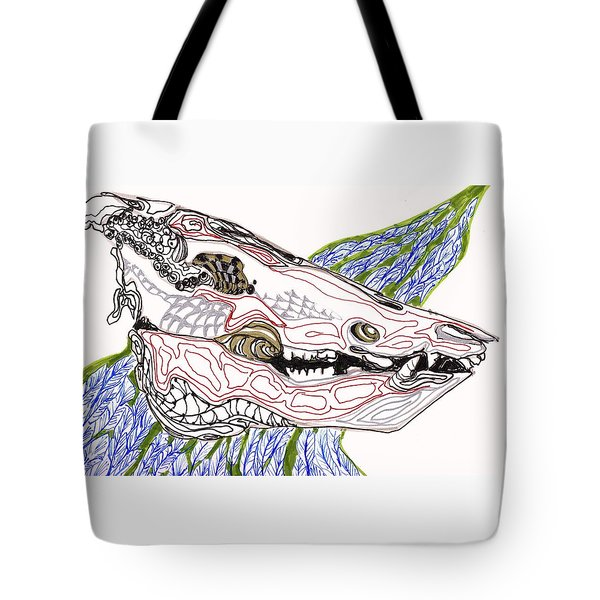 Boar Skull Ink Tote Bag