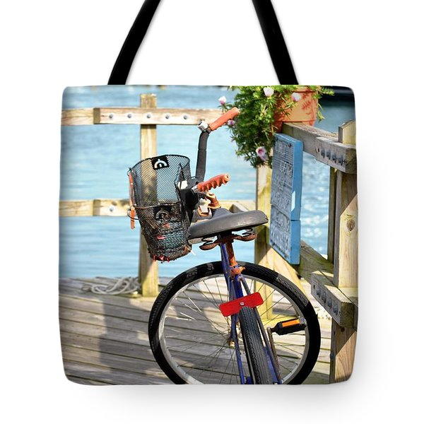 Tote Bag featuring the photograph Boardwalk Bike by Kelly Nowak