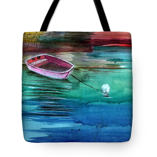 Boat And The Buoy Tote Bag by Anil Nene