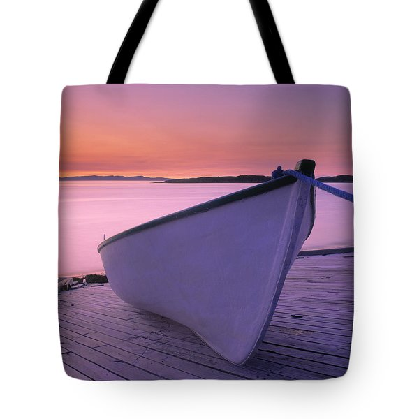 Boat At Dawn, Harrington Harbour, Lower Tote Bag by Yves Marcoux
