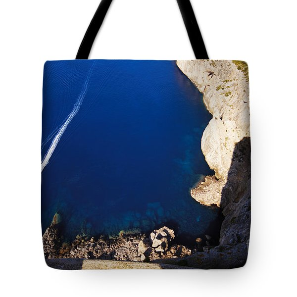 Boat In The Sea Tote Bag
