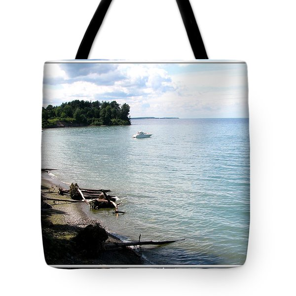 Boat On Lake Ontario Tote Bag by Rose Santuci-Sofranko