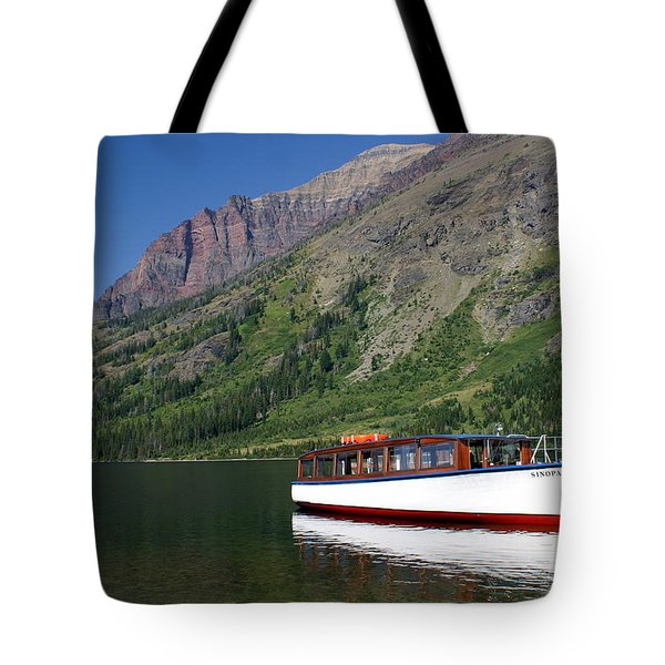 Boat On Two Medicine Tote Bag by Marty Koch