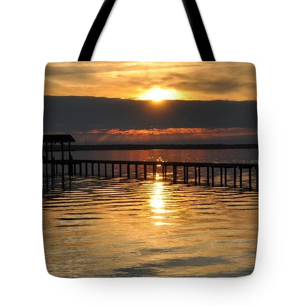 Boathouses At Sunset Tote Bag by Tiffney Heaning