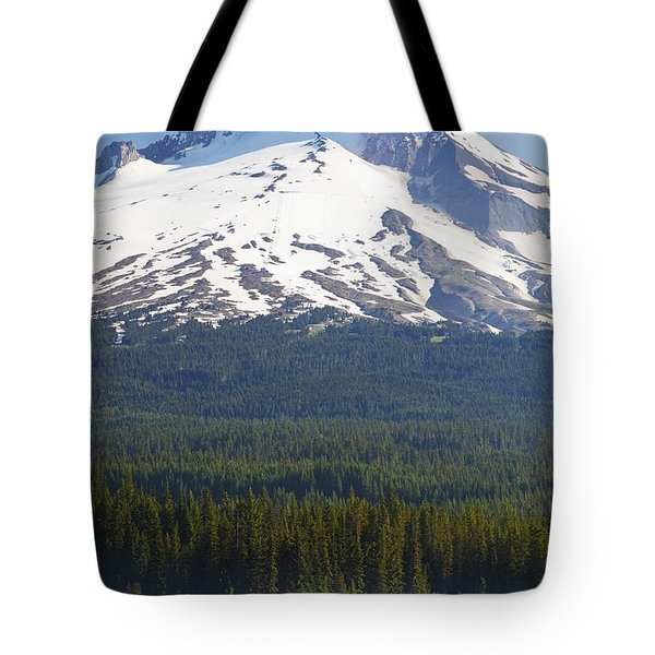 Boating In Trillium Lake With Mount Tote Bag by Craig Tuttle