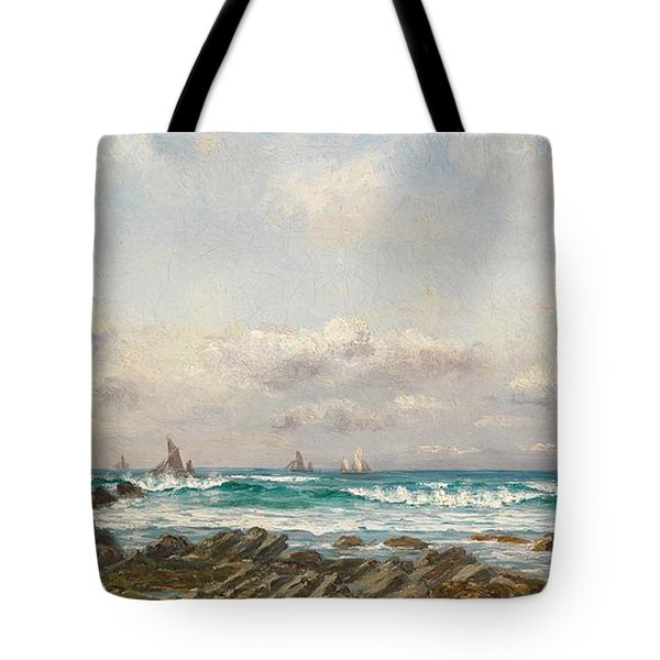 Boats At Sea Tote Bag by William Lionel Wyllie