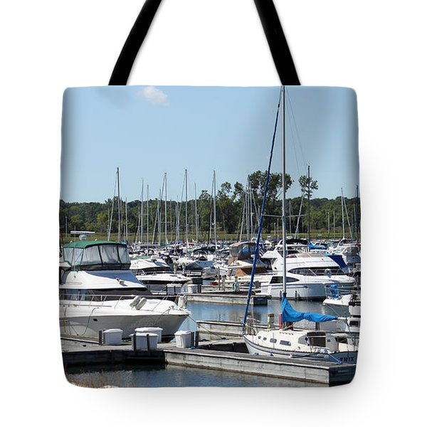 Tote Bag featuring the photograph Boats At Winthrop Harbor by Debbie Hart