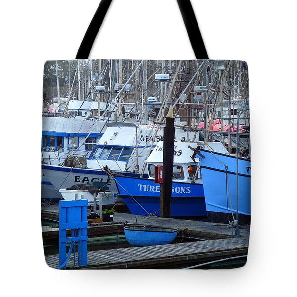 Boats Docked In Harbor Tote Bag by Jeff Lowe