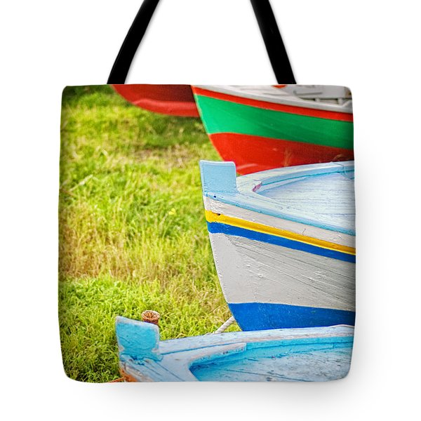 Boats In A Row II Tote Bag by Silvia Ganora