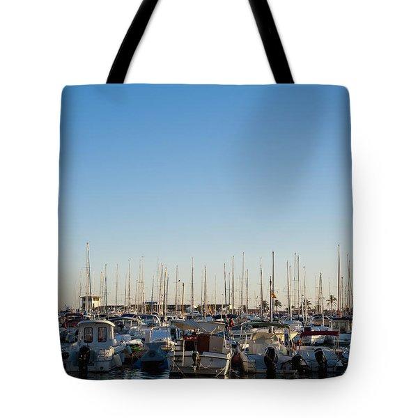 Boats In Alcudias Port, Mallorca Tote Bag