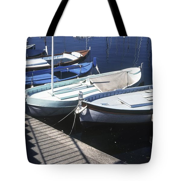 Boats In Harbor Tote Bag by Axiom Photographic