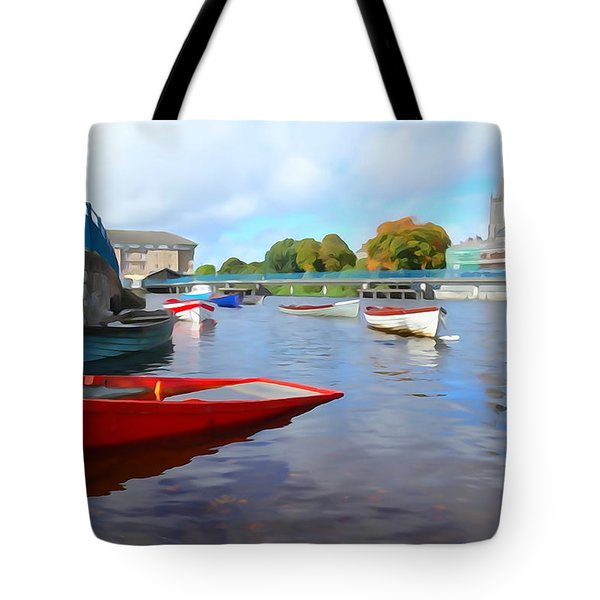 Tote Bag featuring the photograph Boats On The Garavogue by Charlie and Norma Brock