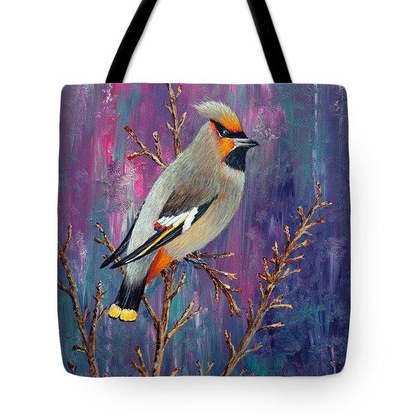 Bohemian Waxwing Tote Bag by Dee Carpenter