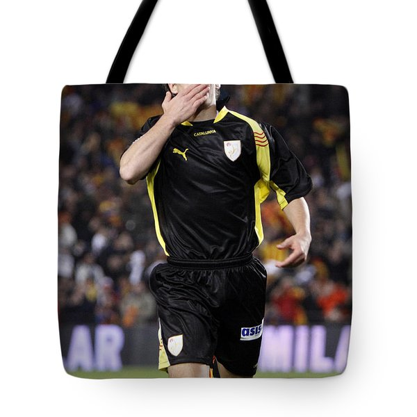 Bojan Krkic Celebrating A Goal 2 Tote Bag
