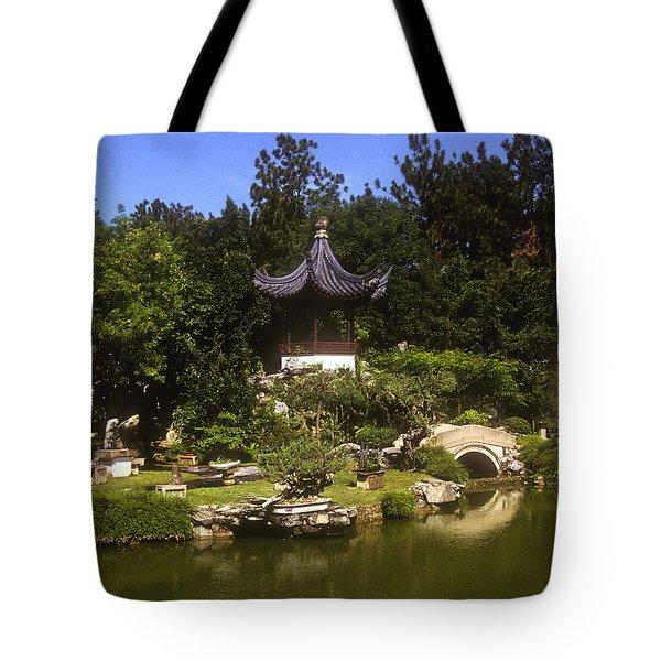 Tote Bag featuring the photograph Bonzai Garden And Gazebo 19l by Gerry Gantt