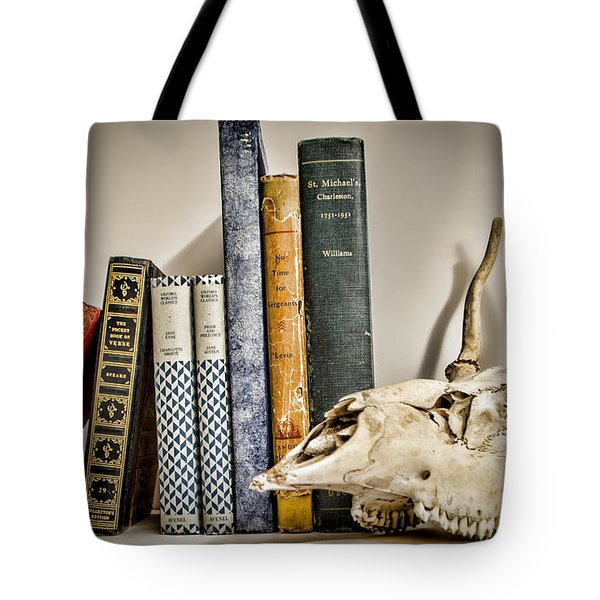 Books And Bones Tote Bag by Heather Applegate