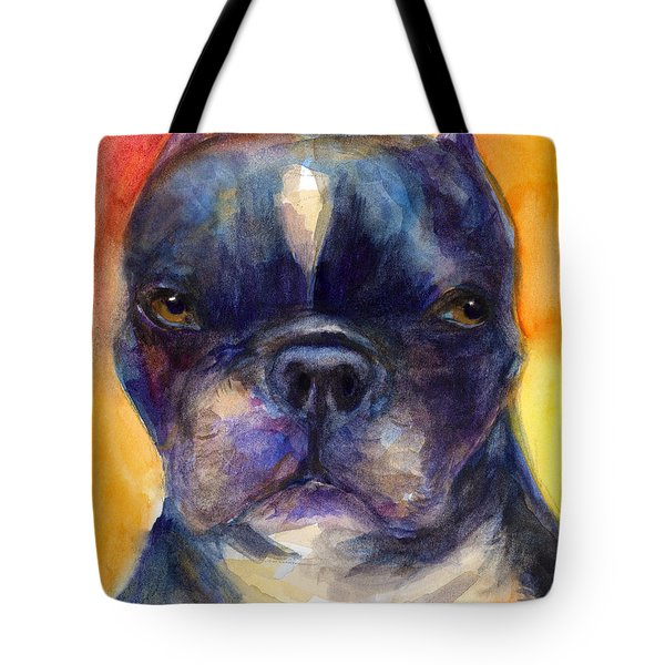 Boston Terrier Dog Portrait Painting In Watercolor Tote Bag