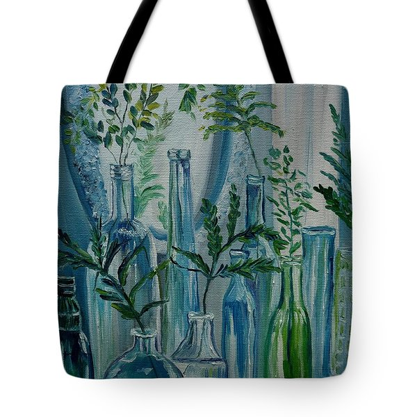 Tote Bag featuring the painting Bottle Brigade by Julie Brugh Riffey