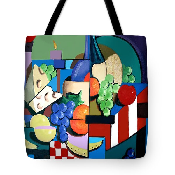 Bottle Of Wine Fruit Of The Vine Tote Bag by Anthony Falbo