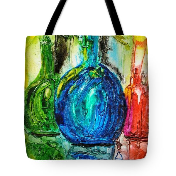 Tote Bag featuring the painting Bottles by Mary Kay Holladay