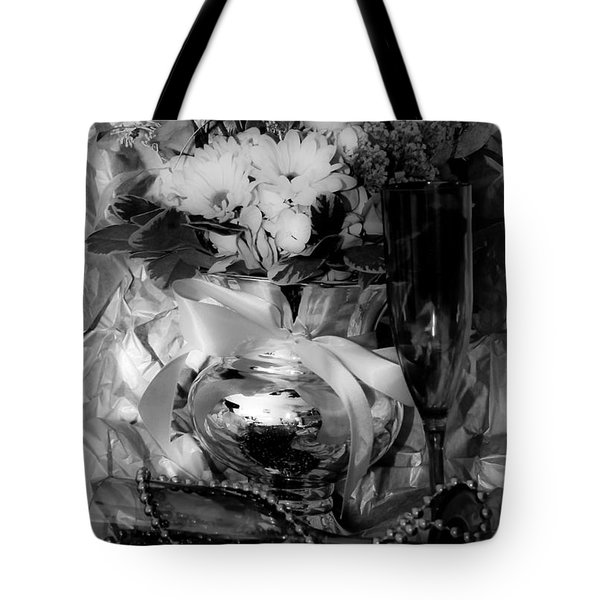 Bouquet And Beads Bw Tote Bag by DigiArt Diaries by Vicky B Fuller