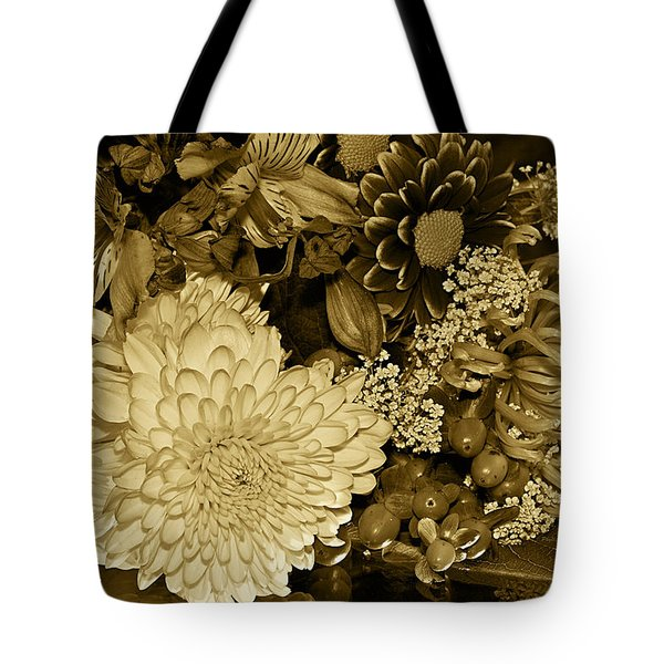Bouquet In Sepia Tote Bag by Phyllis Denton