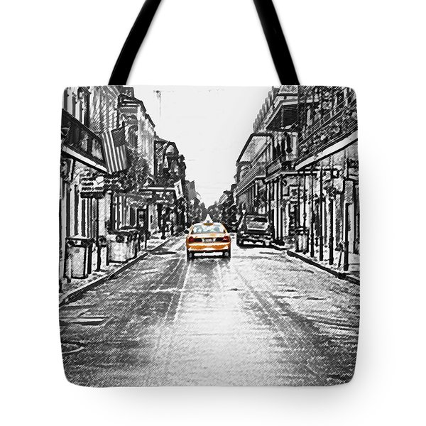 Bourbon St Taxi French Quarter New Orleans Color Splash Black And White Colored Pencil Digital Art Tote Bag