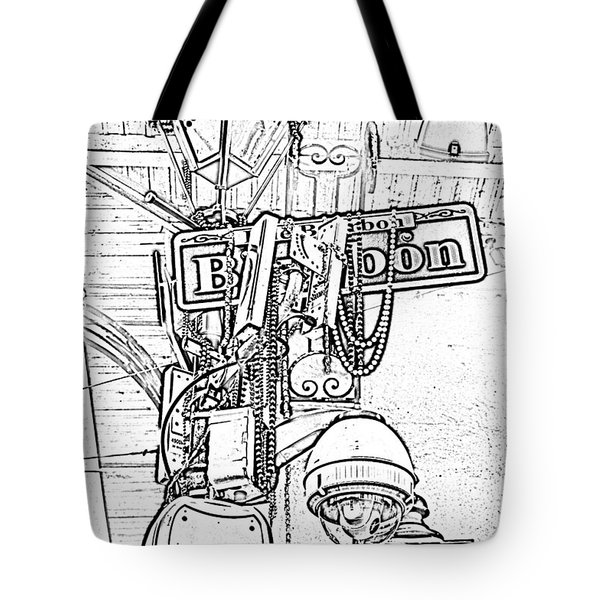 Bourbon Street Sign And Lamp Covered In Beads Black And White Photocopy Digital Art Tote Bag by Shawn O'Brien