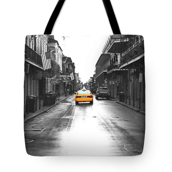 Bourbon Street Taxi French Quarter New Orleans Color Splash Black And White Film Grain Digital Art Tote Bag