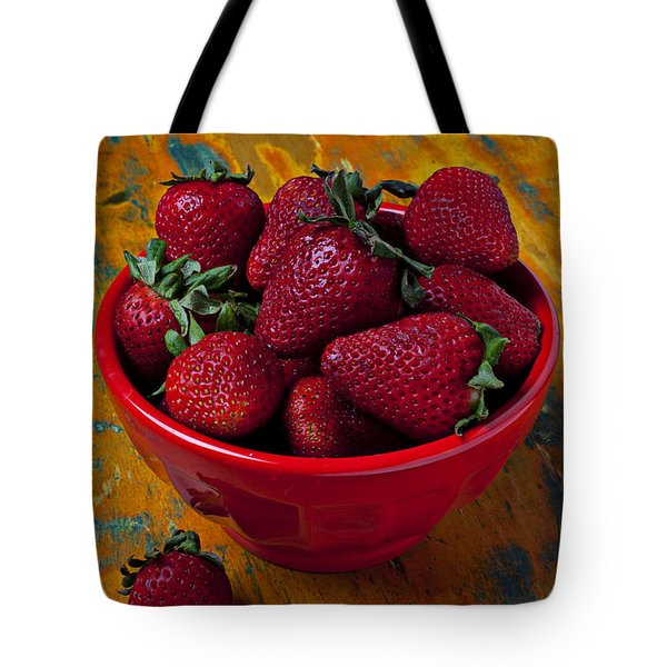 Bowl Of Strawberries  Tote Bag by Garry Gay