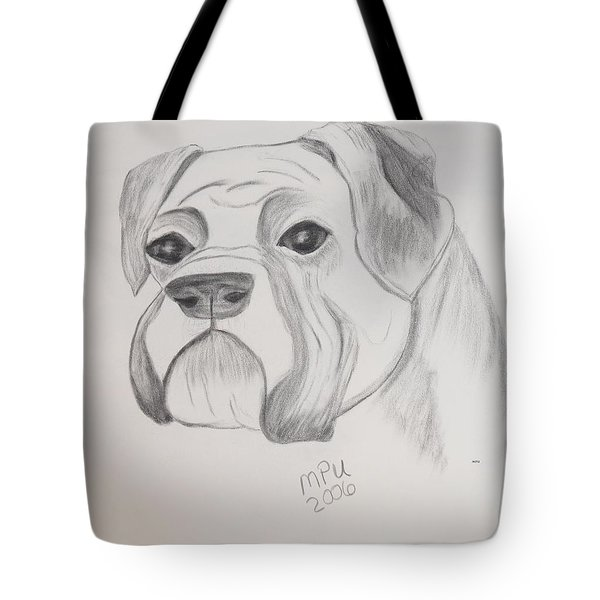 Tote Bag featuring the drawing Boxer No Crop by Maria Urso