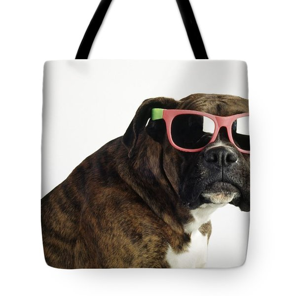 Boxer Wearing Sunglasses Tote Bag by Ron Nickel