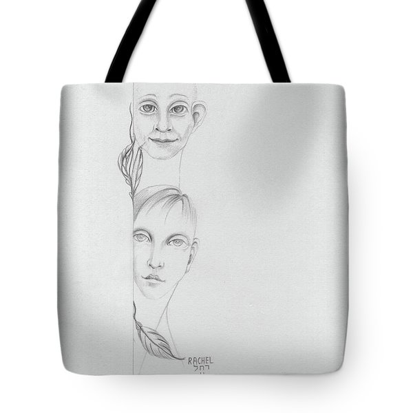 Boy And Girl Looking Over A Wall With Tree Leaves Large Eyes Straight Hair  Tote Bag by Rachel Hershkovitz