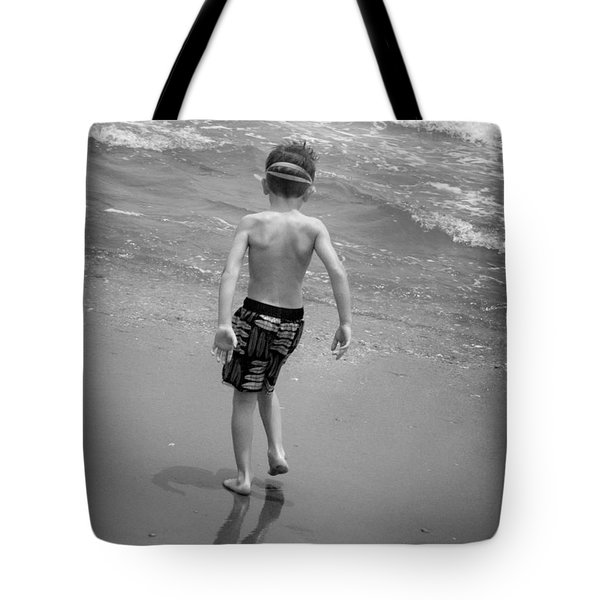 Tote Bag featuring the photograph Boy At The Ocean by Kelly Hazel