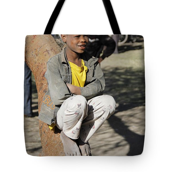 Boy In Zen Thought Tote Bag by Robert SORENSEN