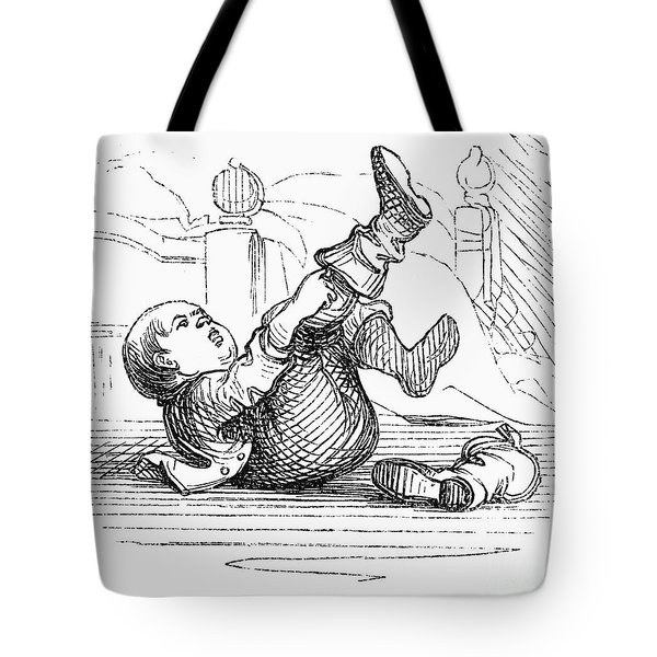 Boy Putting On Boots Tote Bag by Granger