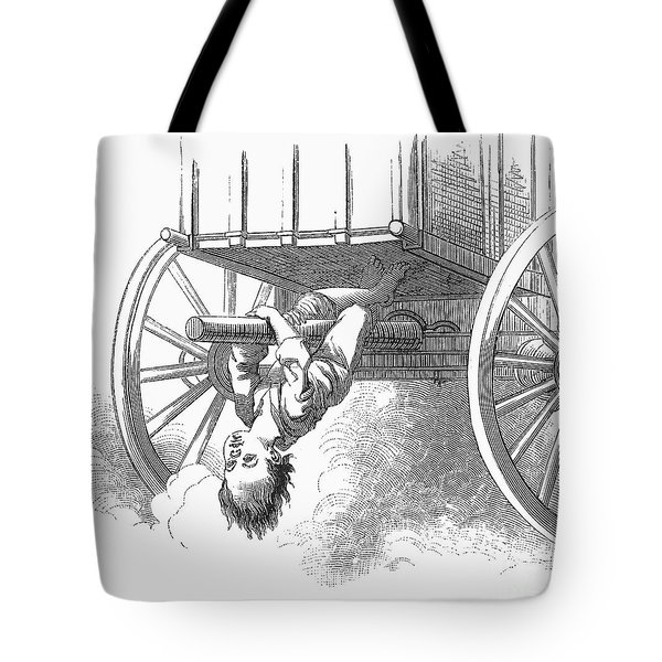 Boy Riding Under Wagon Tote Bag by Granger
