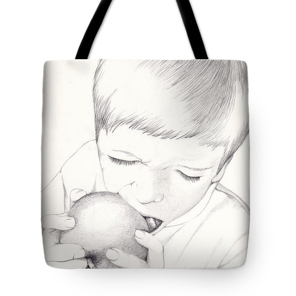 Tote Bag featuring the photograph Boy With Apple by Kelly Hazel