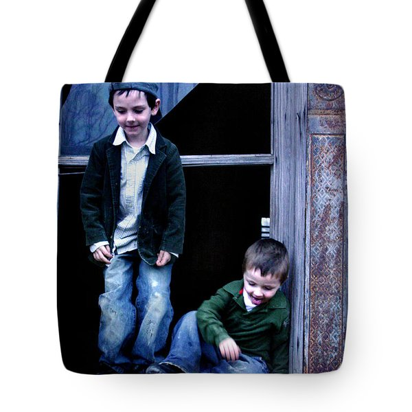 Tote Bag featuring the photograph Boys In A Window by Kelly Hazel