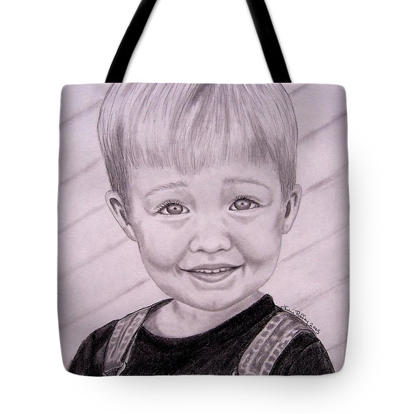 Tote Bag featuring the drawing Brady by Julie Brugh Riffey