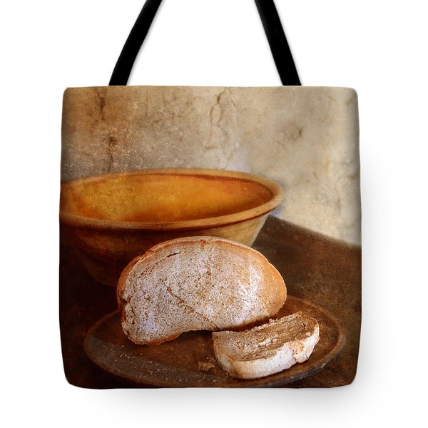 Bread On Rustic Plate And Table Tote Bag by Jill Battaglia